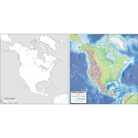 North America Map 19x20 (Laminated)
