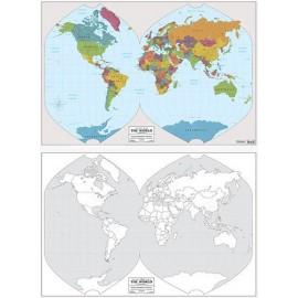 World Color Labeled / Outline Wall Map 23x34 (Laminated)