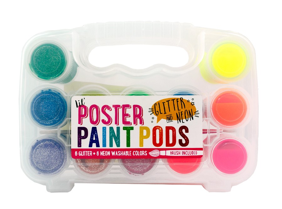 Lil' Poster Paint Pods - Glitter and Neon (12 Colors)