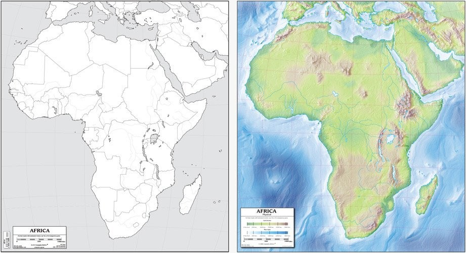 Africa Map 19x21 (Laminated)