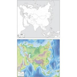 Asia Colored / Outline Map 23x26