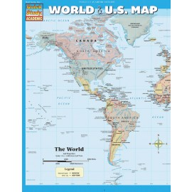 World & US Map (Laminated, Notebook)